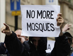No More Mosques Protestor