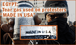 Tear Gas used on protestors made in usa